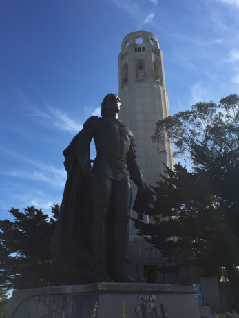 Christopher Columbus is featured outside of Coit Tower