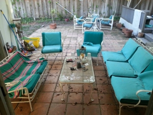 I saw potential in this old outdoor iron furniture set.