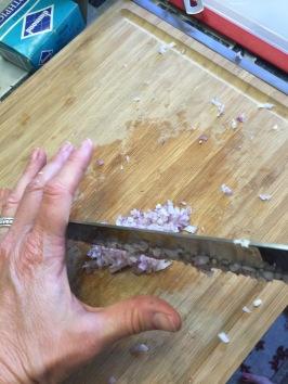 chop the shallot super fine
