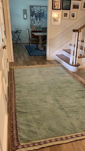 the mint rug started in the entry.